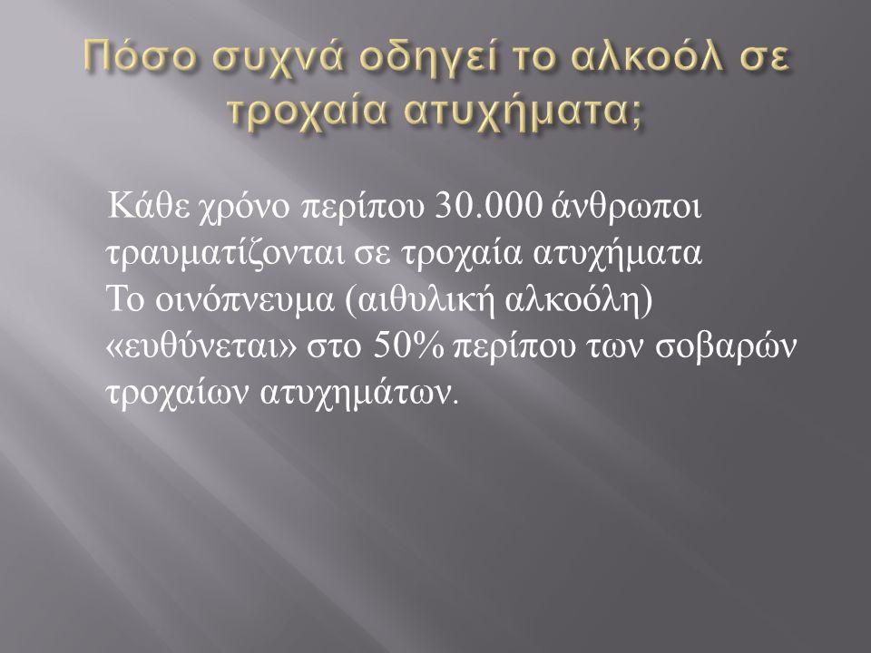 Κάθε χρόνο περίπου 30.000 άνθρωποι τραυματίζονται σε τροχαία ατυχήματα Το οινόπνευμα ( αιθυλική αλκοόλη ) « ευθύνεται » στο 50% περίπου των σοβαρών τρ