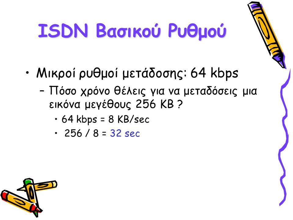ISDN Βασικού Ρυθμού Μικροί ρυθμοί μετάδοσης: 64 kbps –Πόσο χρόνο θέλεις για να μεταδόσεις μια εικόνα μεγέθους 256 KB ? 64 kbps = 8 KB/sec 256 / 8 = 32