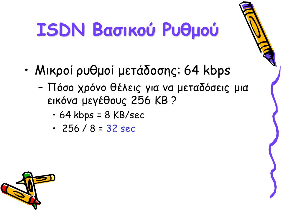 ISDN Βασικού Ρυθμού Μικροί ρυθμοί μετάδοσης: 64 kbps –Πόσο χρόνο θέλεις για να μεταδόσεις μια εικόνα μεγέθους 256 KB .