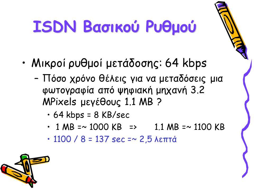 ISDN Βασικού Ρυθμού Μικροί ρυθμοί μετάδοσης: 64 kbps –Πόσο χρόνο θέλεις για να μεταδόσεις μια φωτογραφία από ψηφιακή μηχανή 3.2 ΜPixels μεγέθους 1.1 M
