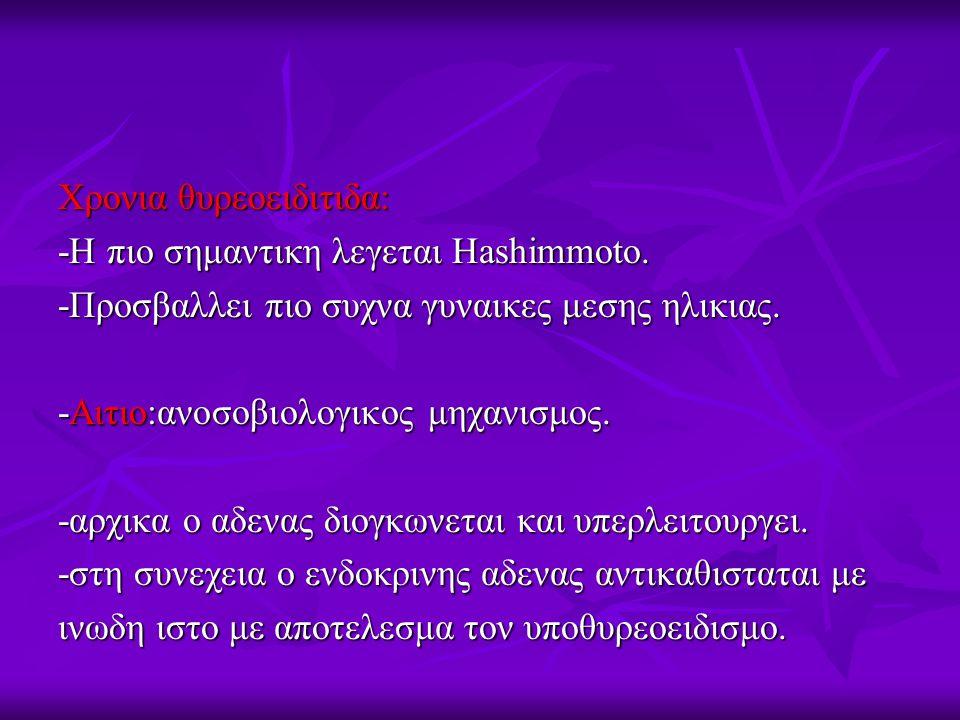 Χρονια θυρεοειδιτιδα: -Η πιο σημαντικη λεγεται Hashimmoto. -Προσβαλλει πιο συχνα γυναικες μεσης ηλικιας. -Αιτιο:ανοσοβιολογικος μηχανισμος. -αρχικα ο