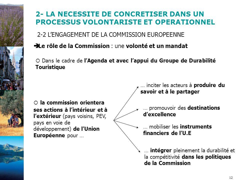 12 2-2 L'ENGAGEMENT DE LA COMMISSION EUROPEENNE  Le rôle de la Commission : une volonté et un mandat  Dans le cadre de l'Agenda et avec l'appui du Groupe de Durabilité Touristique … inciter les acteurs à produire du savoir et à le partager … promouvoir des destinations d'excellence … mobiliser les instruments financiers de l'U.E … intégrer pleinement la durabilité et la compétitivité dans les politiques de la Commission 2- LA NECESSITE DE CONCRETISER DANS UN PROCESSUS VOLONTARISTE ET OPERATIONNEL  la commission orientera ses actions à l'intérieur et à l'extérieur (pays voisins, PEV, pays en voie de développement) de l'Union Européenne pour …