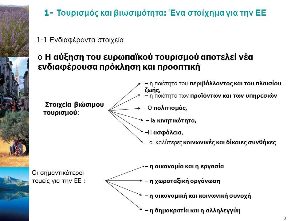 4 1-2 ΜΙΑ ΝΕΑ ΑΝΤΙΛΗΨΗ  Η σταδιακή ολοκλήρωση της ευρωπαϊκής πολιτικής για τον Τουρισμό.
