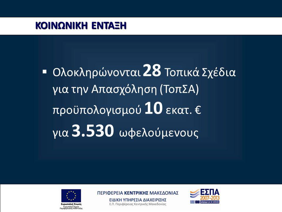 ΚΟΙΝΩΝΙΚΗ ΕΝΤΑΞΗ  Ολοκληρώνονται 28 Τοπικά Σχέδια για την Απασχόληση (ΤοπΣΑ) προϋπολογισμού 10 εκατ. € για 3.530 ωφελούμενους