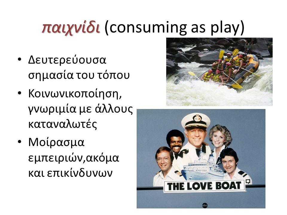 παιχνίδι παιχνίδι (consuming as play) Δευτερεύουσα σημασία του τόπου Κοινωνικοποίηση, γνωριμία με άλλους καταναλωτές Μοίρασμα εμπειριών,ακόμα και επικίνδυνων