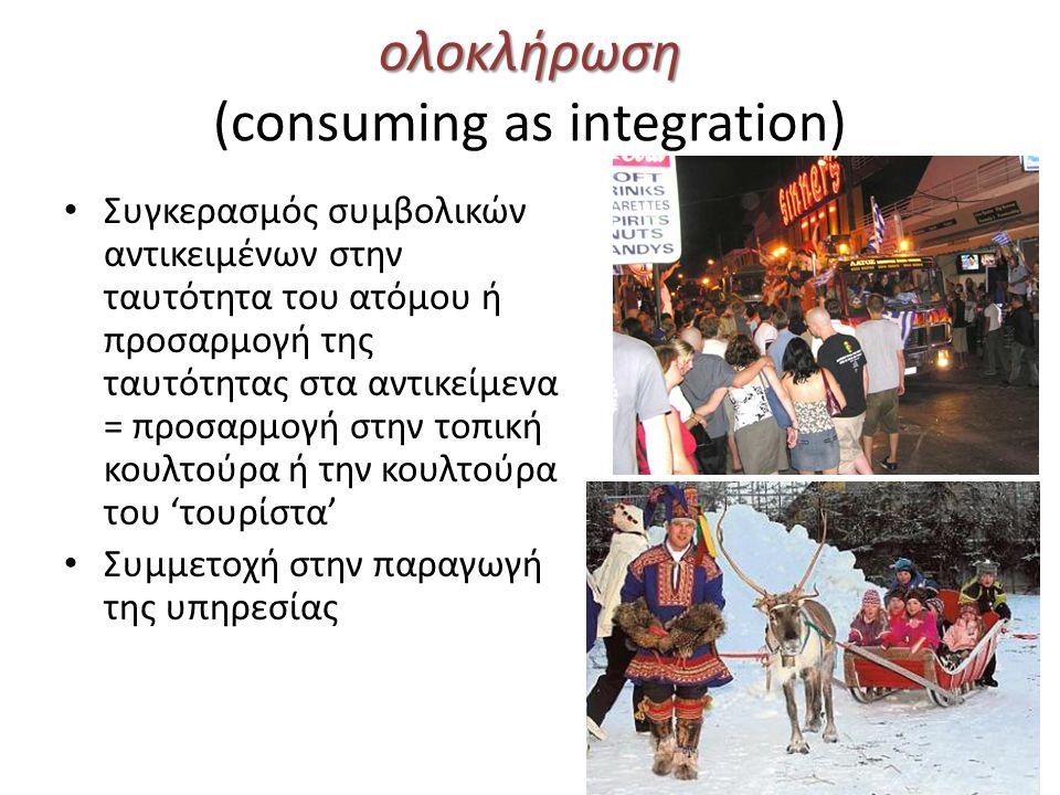 ολοκλήρωση ολοκλήρωση (consuming as integration) Συγκερασμός συμβολικών αντικειμένων στην ταυτότητα του ατόμου ή προσαρμογή της ταυτότητας στα αντικείμενα = προσαρμογή στην τοπική κουλτούρα ή την κουλτούρα του 'τουρίστα' Συμμετοχή στην παραγωγή της υπηρεσίας