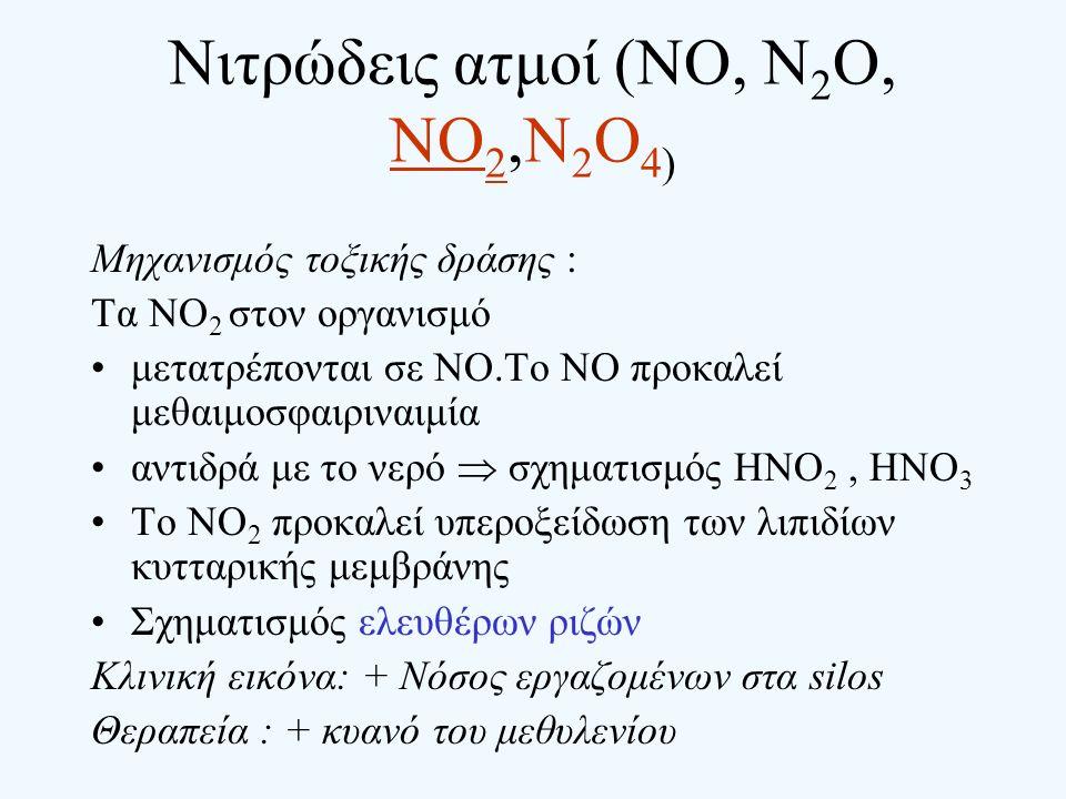 Νιτρώδεις ατμοί (NO, N 2 O, NO 2,N 2 O 4) Μηχανισμός τοξικής δράσης : Τα ΝΟ 2 στον οργανισμό μετατρέπονται σε ΝΟ.Το ΝΟ προκαλεί μεθαιμοσφαιριναιμία αν