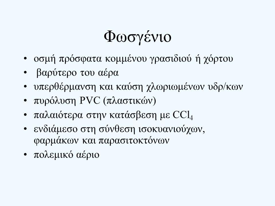 Φωσγένιο οσμή πρόσφατα κομμένου γρασιδιού ή χόρτου βαρύτερο του αέρα υπερθέρμανση και καύση χλωριωμένων υδρ/κων πυρόλυση PVC (πλαστικών) παλαιότερα στ