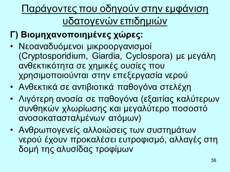 36 Παράγοντες που οδηγούν στην εμφάνιση υδατογενών επιδημιών Γ) Βιομηχανοποιημένες χώρες: Νεοαναδυόμενοι μικροοργανισμοί (Cryptosporidium, Giardia, Cyclospora) με μεγάλη ανθεκτικότητα σε χημικές ουσίες που χρησιμοποιούνται στην επεξεργασία νερού Ανθεκτικά σε αντιβιοτικά παθογόνα στελέχη Λιγότερη ανοσία σε παθογόνα (εξαιτίας καλύτερων συνθηκών χλωρίωσης και μεγαλύτερο ποσοστό ανοσοκατασταλμένων ατόμων) Ανθρωπογενείς αλλοιώσεις των συστημάτων νερού έχουν προκαλέσει ευτροφισμό, αλλαγές στη δομή της αλυσίδας τροφίμων