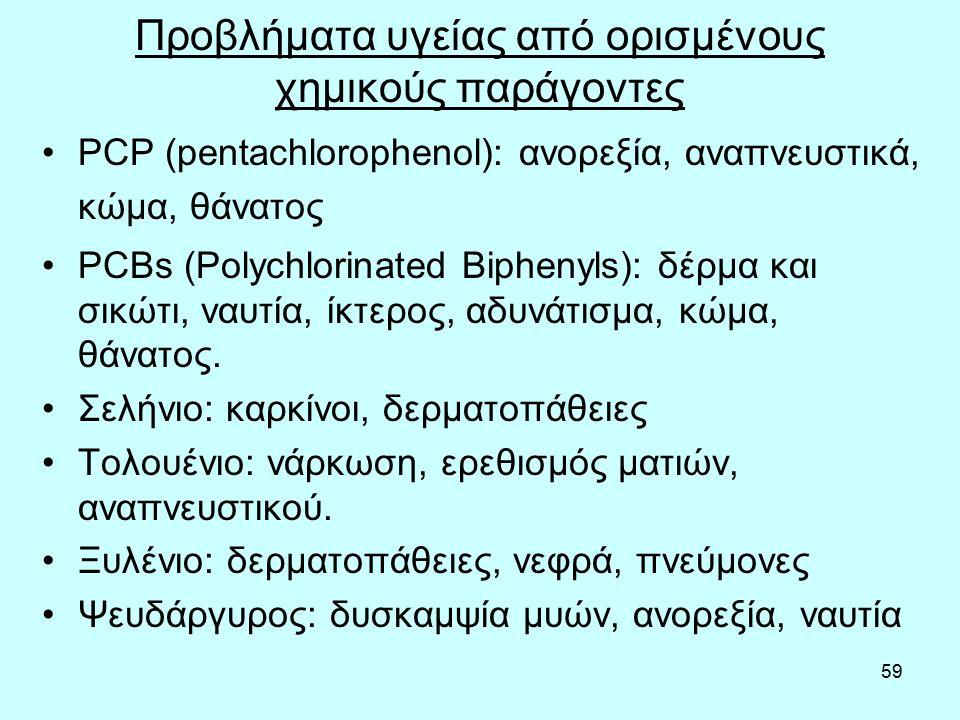 59 Προβλήματα υγείας από ορισμένους χημικούς παράγοντες PCP (pentachlorophenol): ανορεξία, αναπνευστικά, κώμα, θάνατος PCBs (Polychlorinated Biphenyls): δέρμα και σικώτι, ναυτία, ίκτερος, αδυνάτισμα, κώμα, θάνατος.