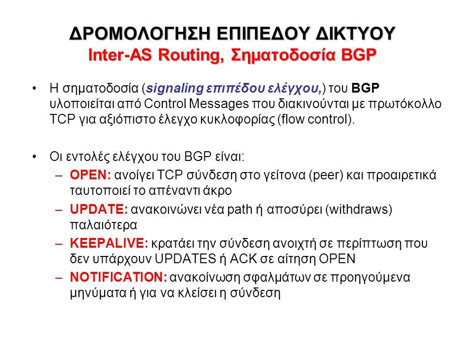 ΔΡΟΜΟΛΟΓΗΣΗ ΕΠΙΠΕΔΟΥ ΔΙΚΤΥΟΥ Inter-AS Routing, Σηματοδοσία BGP Η σηματοδοσία (signaling επιπέδου ελέγχου,) του BGP υλοποιείται από Control Messages που διακινούνται με πρωτόκολλο TCP για αξιόπιστο έλεγχο κυκλοφορίας (flow control).