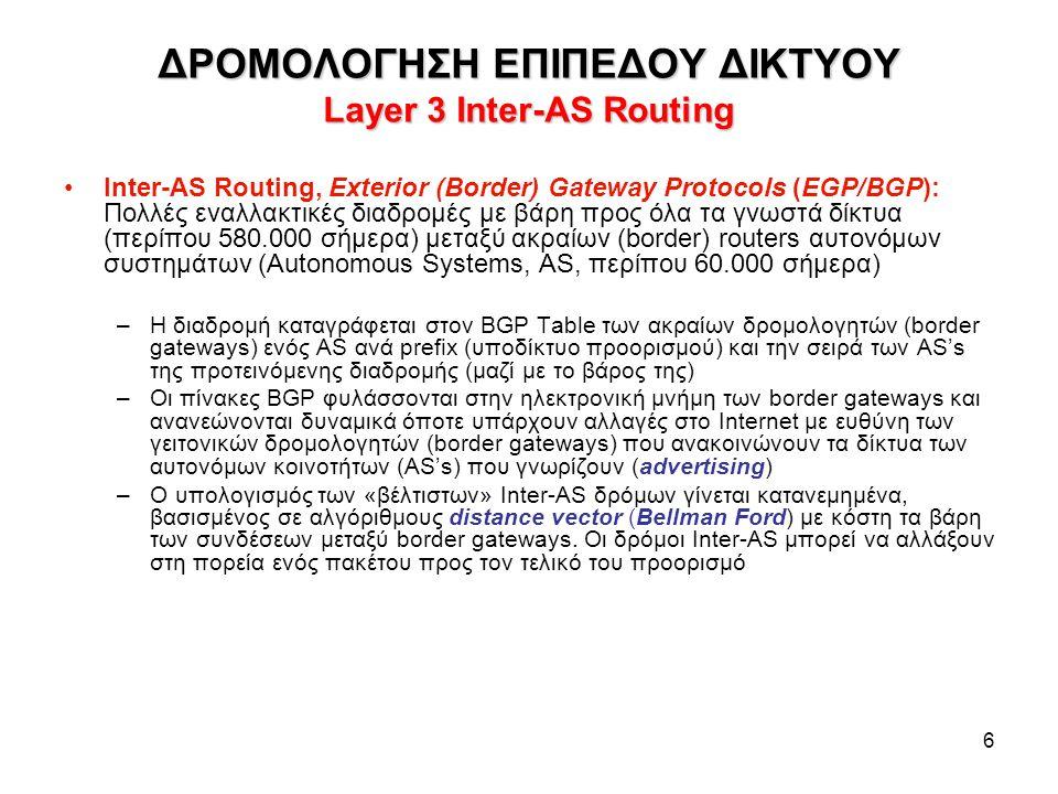 6 ΔΡΟΜΟΛΟΓΗΣΗ ΕΠΙΠΕΔΟΥ ΔΙΚΤΥΟΥ Layer 3 Inter-AS Routing Inter-AS Routing, Exterior (Border) Gateway Protocols (EGP/BGP): Πολλές εναλλακτικές διαδρομές με βάρη προς όλα τα γνωστά δίκτυα (περίπου 580.000 σήμερα) μεταξύ ακραίων (border) routers αυτονόμων συστημάτων (Autonomous Systems, AS, περίπου 60.000 σήμερα) –Η διαδρομή καταγράφεται στον BGP Table των ακραίων δρομολογητών (border gateways) ενός AS ανά prefix (υποδίκτυο προορισμού) και την σειρά των AS's της προτεινόμενης διαδρομής (μαζί με το βάρος της) –Οι πίνακες BGP φυλάσσονται στην ηλεκτρονική μνήμη των border gateways και ανανεώνονται δυναμικά όποτε υπάρχουν αλλαγές στο Internet με ευθύνη των γειτονικών δρομολογητών (border gateways) που ανακοινώνουν τα δίκτυα των αυτονόμων κοινοτήτων (AS's) που γνωρίζουν (advertising) –Ο υπολογισμός των «βέλτιστων» Inter-AS δρόμων γίνεται κατανεμημένα, βασισμένος σε αλγόριθμους distance vector (Bellman Ford) με κόστη τα βάρη των συνδέσεων μεταξύ border gateways.