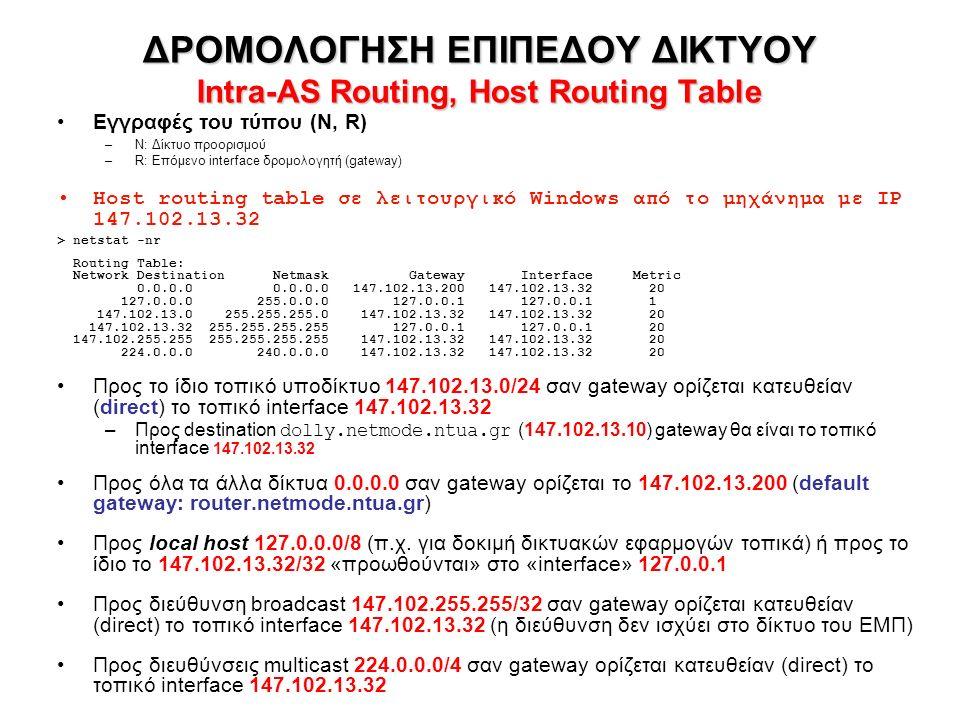 ΔΡΟΜΟΛΟΓΗΣΗ ΕΠΙΠΕΔΟΥ ΔΙΚΤΥΟΥ Intra-AS Routing, Host Routing Table Εγγραφές του τύπου (N, R) –N: Δίκτυο προορισμού –R: Επόμενο interface δρομολογητή (gateway) Host routing table σε λειτουργικό Windows από το μηχάνημα με IP 147.102.13.32 > netstat -nr Routing Table: Network Destination Netmask Gateway Interface Metric 0.0.0.0 0.0.0.0 147.102.13.200 147.102.13.32 20 127.0.0.0 255.0.0.0 127.0.0.1 127.0.0.1 1 147.102.13.0 255.255.255.0 147.102.13.32 147.102.13.32 20 147.102.13.32 255.255.255.255 127.0.0.1 127.0.0.1 20 147.102.255.255 255.255.255.255 147.102.13.32 147.102.13.32 20 224.0.0.0 240.0.0.0 147.102.13.32 147.102.13.32 20 Προς το ίδιο τοπικό υποδίκτυο 147.102.13.0/24 σαν gateway ορίζεται κατευθείαν (direct) το τοπικό interface 147.102.13.32 –Προς destination dolly.netmode.ntua.gr (147.102.13.10) gateway θα είναι το τοπικό interface 147.102.13.32 Προς όλα τα άλλα δίκτυα 0.0.0.0 σαν gateway ορίζεται το 147.102.13.200 (default gateway: router.netmode.ntua.gr) Προς local host 127.0.0.0/8 (π.χ.