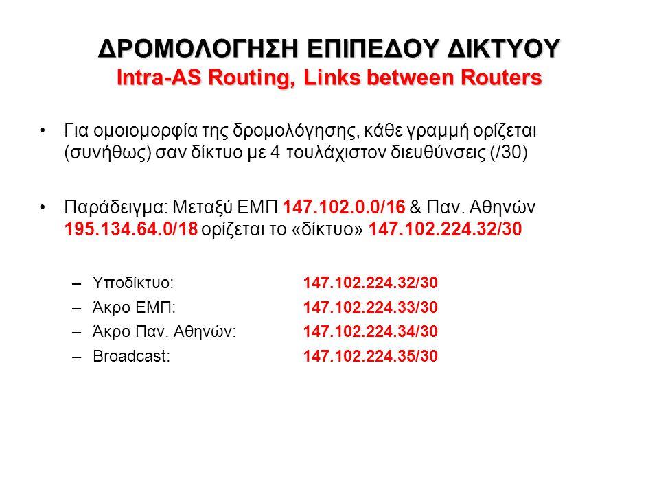 ΔΡΟΜΟΛΟΓΗΣΗ ΕΠΙΠΕΔΟΥ ΔΙΚΤΥΟΥ Intra-AS Routing, Links between Routers Για ομοιομορφία της δρομολόγησης, κάθε γραμμή ορίζεται (συνήθως) σαν δίκτυο με 4 τουλάχιστον διευθύνσεις (/30) Παράδειγμα: Μεταξύ ΕΜΠ 147.102.0.0/16 & Παν.