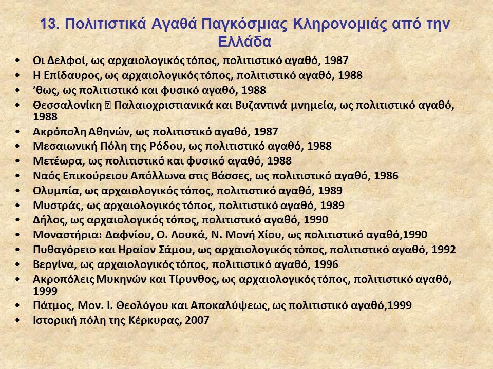 13. Πολιτιστικά Αγαθά Παγκόσμιας Κληρονομιάς από την Ελλάδα Οι Δελφοί, ως αρχαιολογικός τόπος, πολιτιστικό αγαθό, 1987 Η Επίδαυρος, ως αρχαιολογικός τ