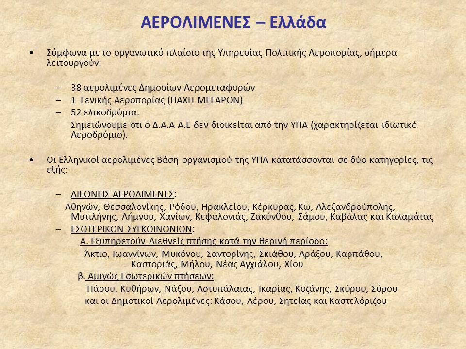 ΑΕΡΟΛΙΜΕΝΕΣ – Ελλάδα Σύμφωνα με το οργανωτικό πλαίσιο της Υπηρεσίας Πολιτικής Αεροπορίας, σήμερα λειτουργούν: –38 αερολιμένες Δημοσίων Αερομεταφορών –1 Γενικής Αεροπορίας (ΠΑΧΗ ΜΕΓΑΡΩΝ) –52 ελικοδρόμια.