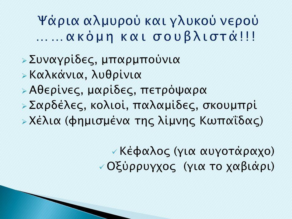  Συναγρίδες, μπαρμπούνια  Καλκάνια, λυθρίνια  Αθερίνες, μαρίδες, πετρόψαρα  Σαρδέλες, κολιοί, παλαμίδες, σκουμπρί  Χέλια (φημισμένα της λίμνης Κωπαΐδας) Κέφαλος (για αυγοτάραχο) Οξύρρυγχος (για το χαβιάρι)