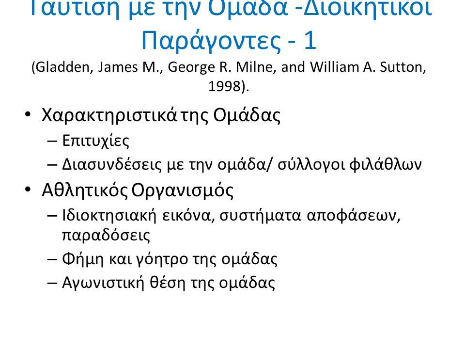 Ταύτιση με την Ομάδα -Διοικητικοί Παράγοντες - 1 ( Gladden, James M., George R. Milne, and William A. Sutton, 1998). Χαρακτηριστικά της Ομάδας – Επιτυ