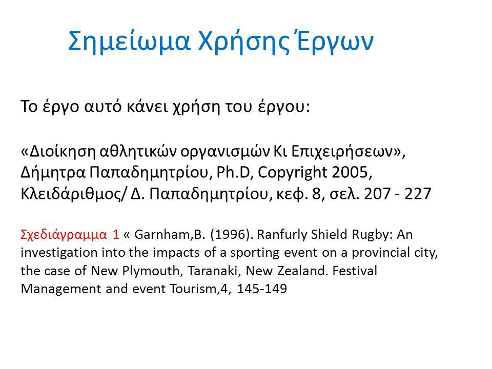 Σημείωμα Χρήσης Έργων Το έργο αυτό κάνει χρήση του έργου: «Διοίκηση αθλητικών οργανισμών Κι Επιχειρήσεων», Δήμητρα Παπαδημητρίου, Ph.D, Copyright 2005