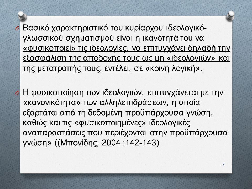 4 O Βασικό χαρακτηριστικό του κυρίαρχου ιδεολογικό - γλωσσικού σχηματισμού είναι η ικανότητά του να « φυσικοποιεί » τις ιδεολογίες, να επιτυγχάνει δηλ