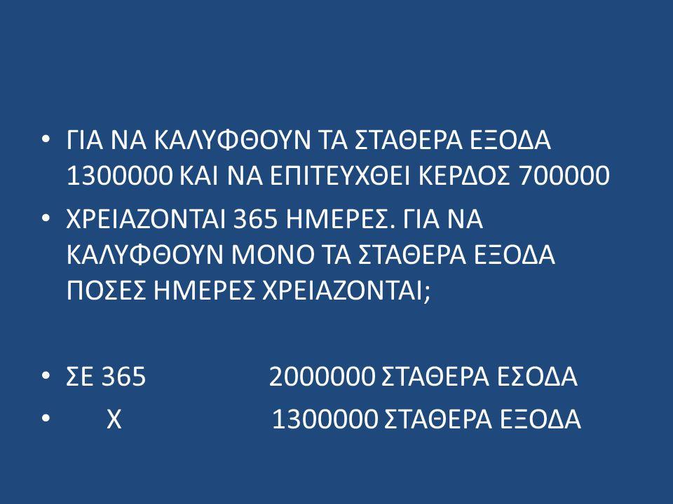 ΓΙΑ ΝΑ ΚΑΛΥΦΘΟΥΝ ΤΑ ΣΤΑΘΕΡΑ ΕΞΟΔΑ 1300000 ΚΑΙ ΝΑ ΕΠΙΤΕΥΧΘΕΙ ΚΕΡΔΟΣ 700000 ΧΡΕΙΑΖΟΝΤΑΙ 365 ΗΜΕΡΕΣ. ΓΙΑ ΝΑ ΚΑΛΥΦΘΟΥΝ ΜΟΝO ΤΑ ΣΤΑΘΕΡΑ ΕΞΟΔΑ ΠΟΣΕΣ ΗΜΕΡΕΣ