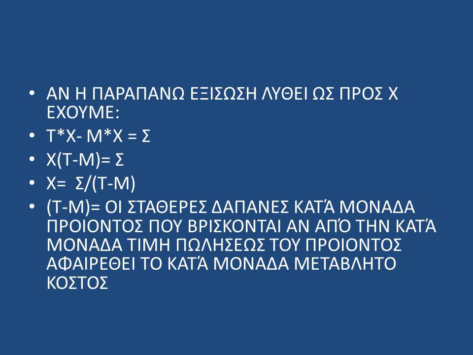 ΑΝ Η ΠΑΡΑΠΑΝΩ ΕΞΙΣΩΣΗ ΛΥΘΕΙ ΩΣ ΠΡΟΣ Χ ΕΧΟΥΜΕ: Τ*Χ- Μ*Χ = Σ Χ(Τ-Μ)= Σ Χ= Σ/(Τ-Μ) (Τ-Μ)= ΟΙ ΣΤΑΘΕΡΕΣ ΔΑΠΑΝΕΣ ΚΑΤΆ ΜΟΝΑΔΑ ΠΡΟΙΟΝΤΟΣ ΠΟΥ ΒΡΙΣΚΟΝΤΑΙ ΑΝ ΑΠΌ