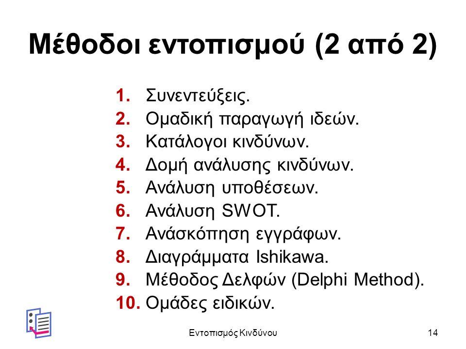 Μέθοδοι εντοπισμού (2 από 2) 1. Συνεντεύξεις. 2.