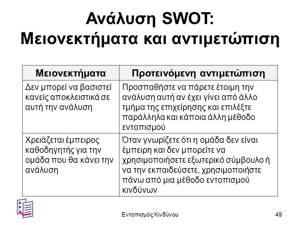 Ανάλυση SWOT: Μειονεκτήματα και αντιμετώπιση ΜειονεκτήματαΠροτεινόμενη αντιμετώπιση Δεν μπορεί να βασιστεί κανείς αποκλειστικά σε αυτή την ανάλυση Προσπαθήστε να πάρετε έτοιμη την ανάλυση αυτή αν έχει γίνει από άλλο τμήμα της επιχείρησης και επιλέξτε παράλληλα και κάποια άλλη μέθοδο εντοπισμού Χρειάζεται έμπειρος καθοδηγητής για την ομάδα που θα κάνει την ανάλυση Όταν γνωρίζετε ότι η ομάδα δεν είναι έμπειρη και δεν μπορείτε να χρησιμοποιήσετε εξωτερικό σύμβουλο ή να την εκπαιδεύσετε, χρησιμοποιήστε πάνω από μια μέθοδο εντοπισμού κινδύνων Εντοπισμός Κινδύνου49