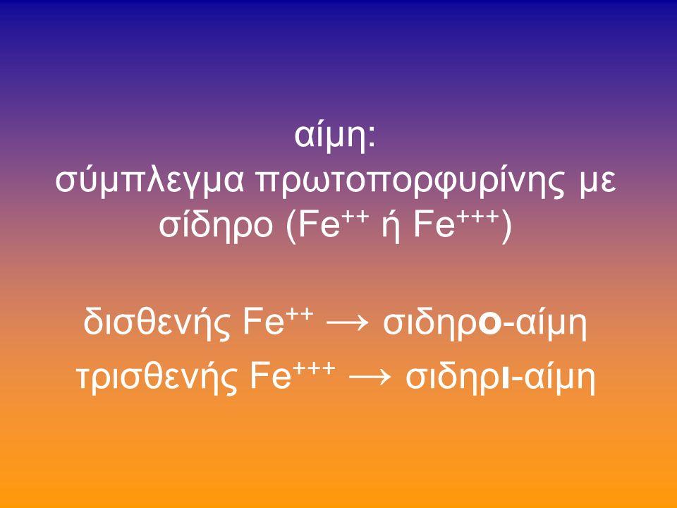 αίμη: σύμπλεγμα πρωτοπορφυρίνης με σίδηρο (Fe ++ ή Fe +++ ) δισθενής Fe ++ → σιδηρ ο -αίμη τρισθενής Fe +++ → σιδηρ ι -αίμη