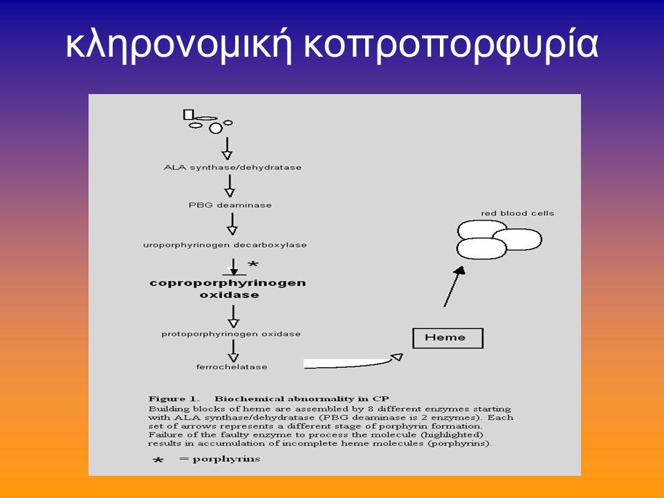 πορφυρία variegate (2/2) το βιοχημικό έλλειμμα παραμένει ασαφές ίσως ανεπάρκεια της σιδηροχηλατάσης αυξημένη απέκκριση πορφοχολινογόνου και δ- ALA ούρων επί κρίσεων 1968: παθολογικά αυξημένα συμπλέγματα πορφυρινών-πεπτιδίων σε κόπρανα-χολή- ούρα-ήπαρ («πορφυρίνες Χ»)