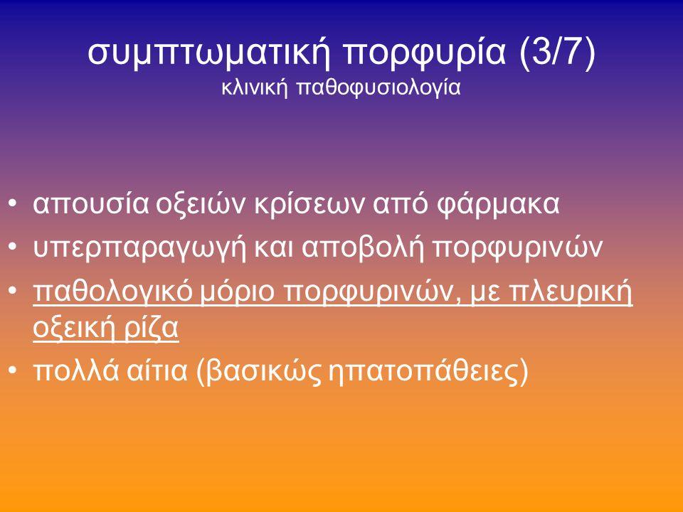 συμπτωματική πορφυρία (2/7) κλινική παθοφυσιολογία δερματοπάθεια φωτο-ευαισθησίας