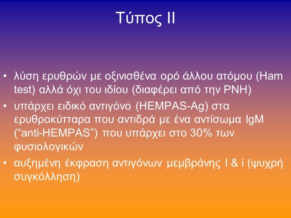 Tύπος ΙΙ ο συχότερος HEMΡAS (hereditary erythroblastic multinuclearity with a positive acidified serum test) διπύρηνοι ή πολυπύρηνοι ερυθροβλάστες (2-7 πυρήνες)