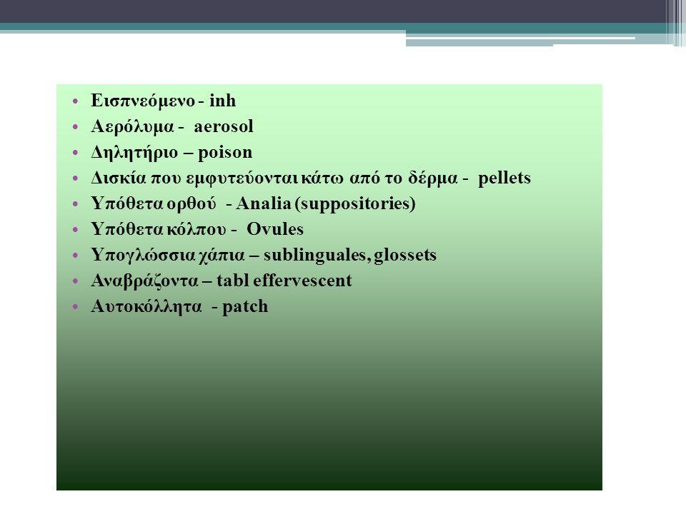 Εισπνεόμενο - inh Αερόλυμα - aerosol Δηλητήριο – poison Δισκία που εμφυτεύονται κάτω από το δέρμα - pellets Υπόθετα ορθού - Analia (suppositories) Υπό
