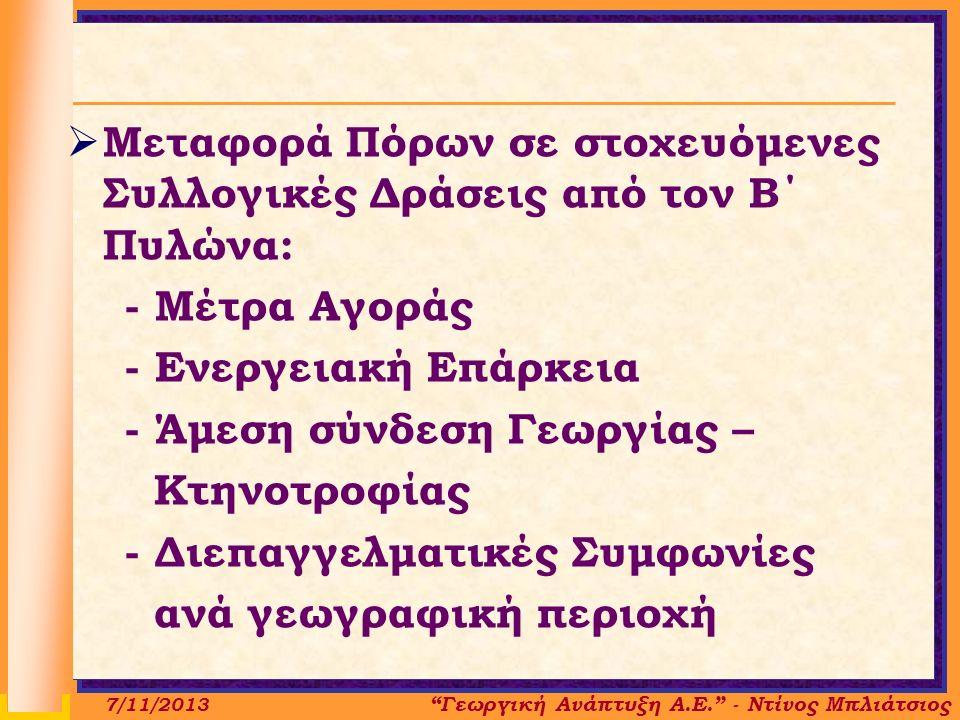 Γεωργική Ανάπτυξη Α.Ε. - Ντίνος Μπλιάτσιος 7/11/2013  Μεταφορά Πόρων σε στοχευόμενες Συλλογικές Δράσεις από τον Β΄ Πυλώνα: - Μέτρα Αγοράς - Ενεργειακή Επάρκεια - Άμεση σύνδεση Γεωργίας – Κτηνοτροφίας - Διεπαγγελματικές Συμφωνίες ανά γεωγραφική περιοχή