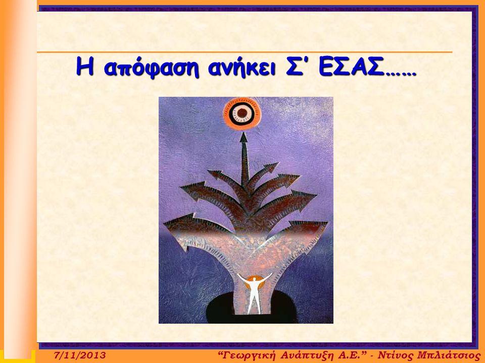 Η απόφαση ανήκει Σ' ΕΣΑΣ…… Γεωργική Ανάπτυξη Α.Ε. - Ντίνος Μπλιάτσιος 7/11/2013
