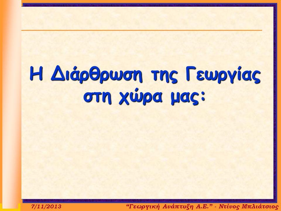 Η Διάρθρωση της Γεωργίας στη χώρα μας: Γεωργική Ανάπτυξη Α.Ε. - Ντίνος Μπλιάτσιος 7/11/2013