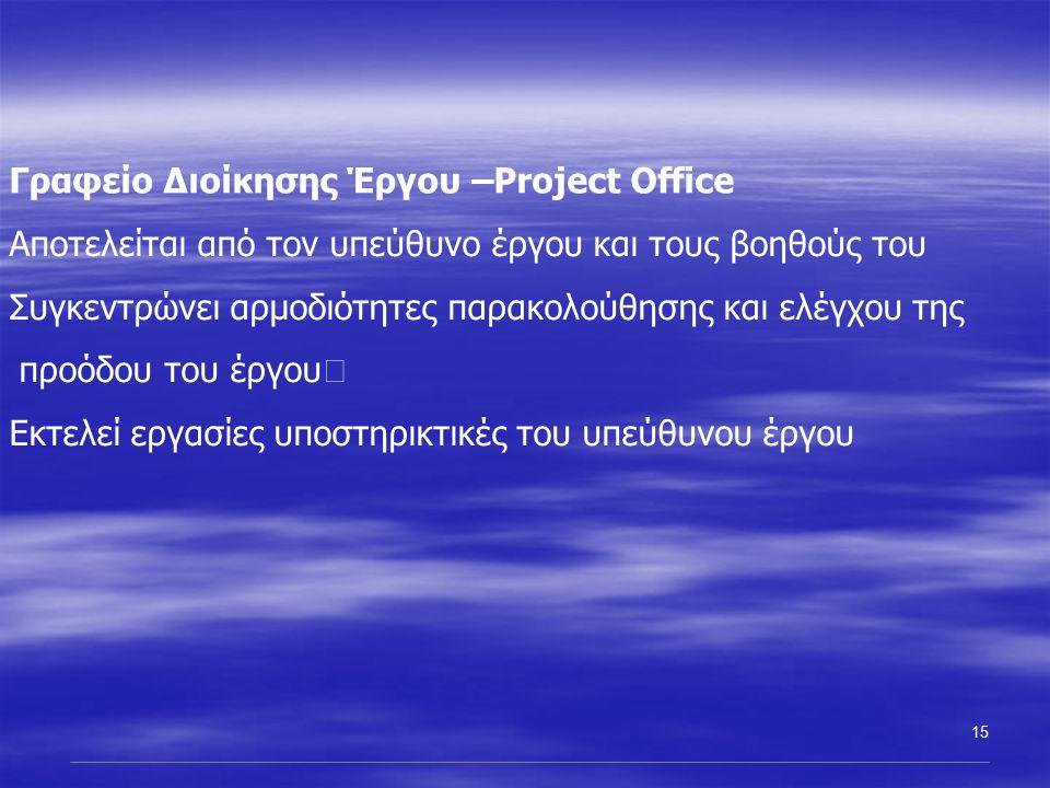 15 Γραφείο Διοίκησης Έργου –Project Office Αποτελείται από τον υπεύθυνο έργου και τους βοηθούς του Συγκεντρώνει αρμοδιότητες παρακολούθησης και ελέγχου της προόδου του έργου Εκτελεί εργασίες υποστηρικτικές του υπεύθυνου έργου