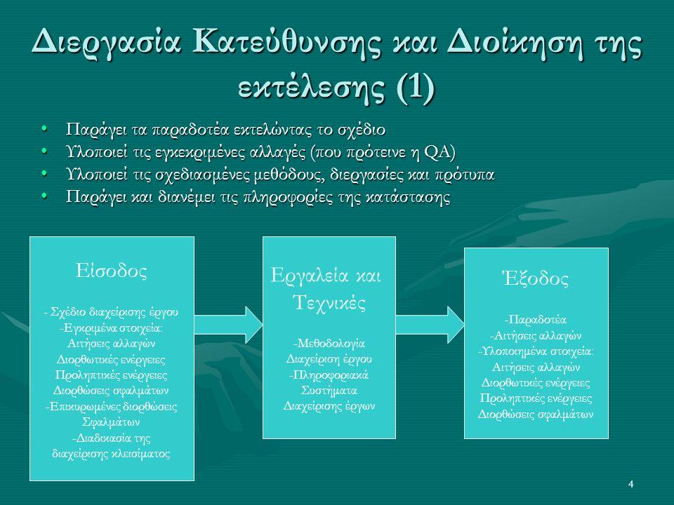 4 Διεργασία Κατεύθυνσης και Διοίκηση της εκτέλεσης (1) Είσοδος - Σχέδιο διαχείρισης έργου -Εγκριμένα στοιχεία: Αιτήσεις αλλαγών Διορθωτικές ενέργειες Προληπτικές ενέργειες Διορθώσεις σφαλμάτων -Επικυρωμένες διορθώσεις Σφαλμάτων -Διαδικασία της διαχείρισης κλεισίματος Εργαλεία και Τεχνικές -Μεθοδολογία Διαχείριση έργου -Πληροφοριακά Συστήματα Διαχείρισης έργων Έξοδος -Παραδοτέα -Αιτήσεις αλλαγών -Υλοποιημένα στοιχεία: Αιτήσεις αλλαγών Διορθωτικές ενέργειες Προληπτικές ενέργειες Διορθώσεις σφαλμάτων Παράγει τα παραδοτέα εκτελώντας το σχέδιοΠαράγει τα παραδοτέα εκτελώντας το σχέδιο Υλοποιεί τις εγκεκριμένες αλλαγές (που πρότεινε η QA)Υλοποιεί τις εγκεκριμένες αλλαγές (που πρότεινε η QA) Υλοποιεί τις σχεδιασμένες μεθόδους, διεργασίες και πρότυπαΥλοποιεί τις σχεδιασμένες μεθόδους, διεργασίες και πρότυπα Παράγει και διανέμει τις πληροφορίες της κατάστασηςΠαράγει και διανέμει τις πληροφορίες της κατάστασης