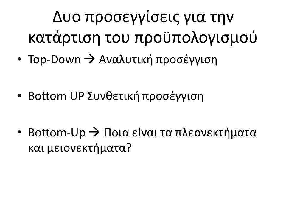 Δυο προσεγγίσεις για την κατάρτιση του προϋπολογισμού Top-Down  Αναλυτική προσέγγιση Bottom UP Συνθετική προσέγγιση Bottom-Up  Ποια είναι τα πλεονεκτήματα και μειονεκτήματα