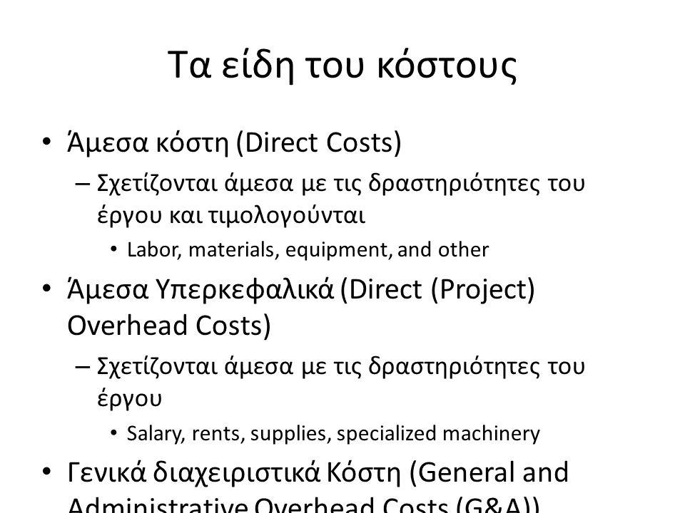 Τα είδη του κόστους Άμεσα κόστη (Direct Costs) – Σχετίζονται άμεσα με τις δραστηριότητες του έργου και τιμολογούνται Labor, materials, equipment, and other Άμεσα Υπερκεφαλικά (Direct (Project) Overhead Costs) – Σχετίζονται άμεσα με τις δραστηριότητες του έργου Salary, rents, supplies, specialized machinery Γενικά διαχειριστικά Κόστη (General and Administrative Overhead Costs (G&A)) – Σχετίζονται με τον οργανισμό φορέα