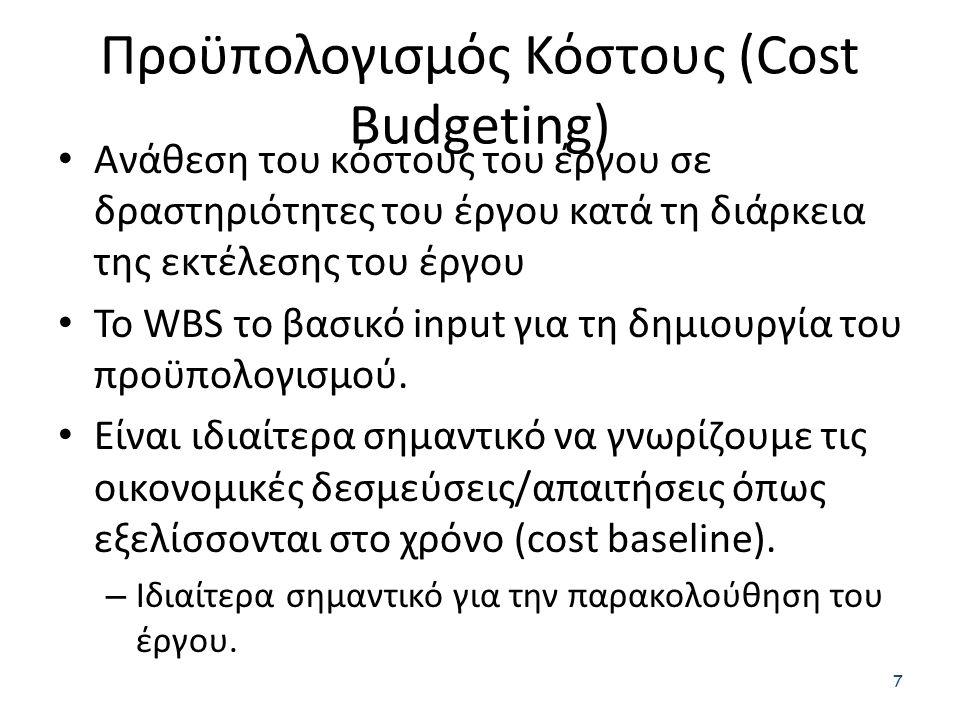 Προϋπολογισμός Κόστους (Cost Budgeting) 7 Ανάθεση του κόστους του έργου σε δραστηριότητες του έργου κατά τη διάρκεια της εκτέλεσης του έργου Το WBS το βασικό input για τη δημιουργία του προϋπολογισμού.