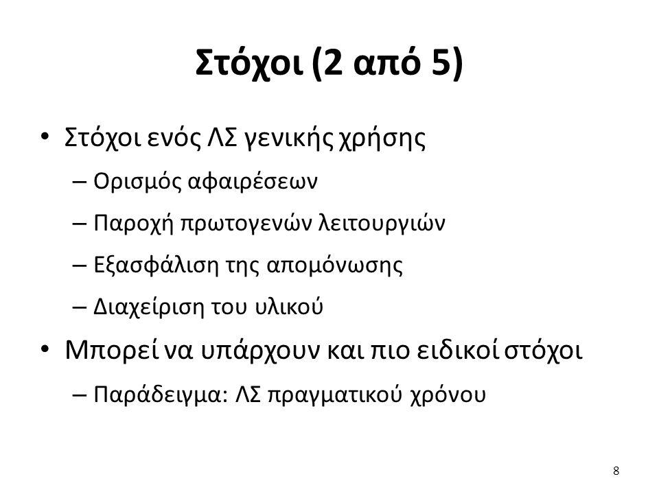 Στόχοι (3 από 5) Ορισμός αφαιρέσεων – Οι βασικές αφαιρέσεις είναι γνωστές – Διεργασίες, χώροι διευθύνσεων, αρχεία – Αλλά και νήματα, συγχρονισμός, επικοινωνία – Ο ακριβής ορισμός δεν είναι προφανής Παράδειγμα: χειρισμός νημάτων μετά από fork() Αντιγράφονται τα νήματα; Αντιγράφονται τα εκκρεμή σήματα; 9