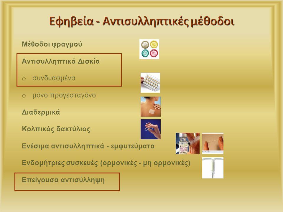 Εφηβεία - Αντισυλληπτικές μέθοδοι Μέθοδοι φραγμού Aντισυλληπτικά Δισκία o συνδυασμένα o μόνο προγεσταγόνο Διαδερμικά Κολπικός δακτύλιος Ενέσιμα αντισυλληπτικά - εμφυτεύματα Ενδομήτριες συσκευές (ορμονικές - μη ορμονικές) Επείγουσα αντισύλληψη