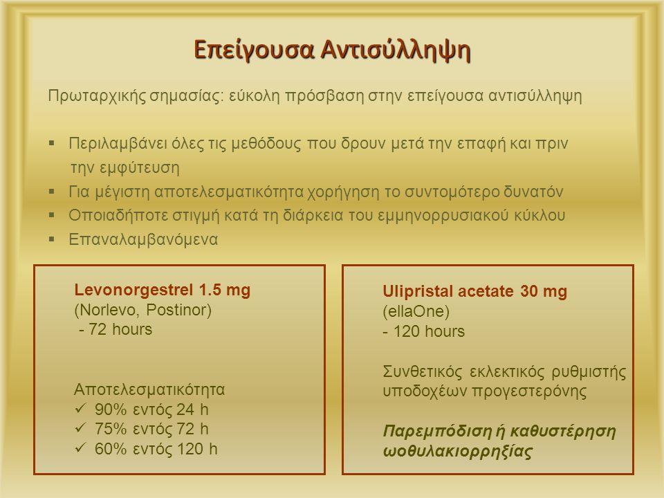 Επείγουσα Αντισύλληψη Ulipristal acetate 30 mg (ellaOne) - 120 hours Συνθετικός εκλεκτικός ρυθμιστής υποδοχέων προγεστερόνης Παρεμπόδιση ή καθυστέρηση ωοθυλακιορρηξίας Πρωταρχικής σημασίας: εύκολη πρόσβαση στην επείγουσα αντισύλληψη  Περιλαμβάνει όλες τις μεθόδους που δρουν μετά την επαφή και πριν την εμφύτευση  Για μέγιστη αποτελεσματικότητα χορήγηση το συντομότερο δυνατόν  Οποιαδήποτε στιγμή κατά τη διάρκεια του εμμηνορρυσιακού κύκλου  Επαναλαμβανόμενα Gemzell-Danielsson,Contraception 2012 Levonorgestrel 1.5 mg (Norlevo, Postinor) - 72 hours Αποτελεσματικότητα 90% εντός 24 h 75% εντός 72 h 60% εντός 120 h