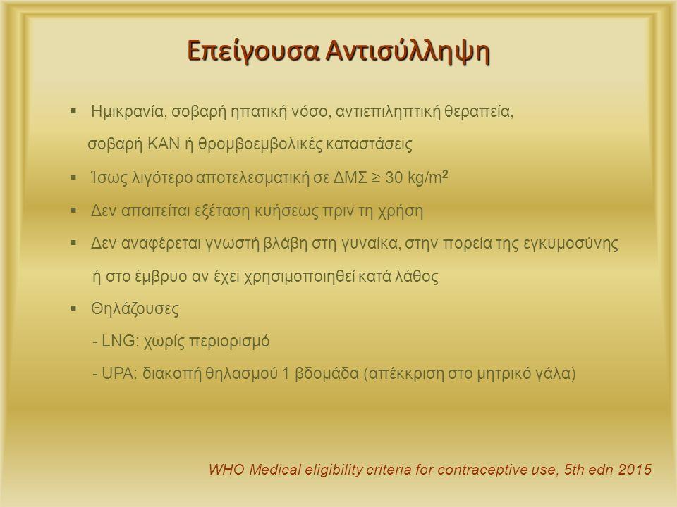 Επείγουσα Αντισύλληψη  Ημικρανία, σοβαρή ηπατική νόσο, αντιεπιληπτική θεραπεία, σοβαρή ΚΑΝ ή θρομβοεμβολικές καταστάσεις  Ίσως λιγότερο αποτελεσματική σε ΔΜΣ ≥ 30 kg/m 2  Δεν απαιτείται εξέταση κυήσεως πριν τη χρήση  Δεν αναφέρεται γνωστή βλάβη στη γυναίκα, στην πορεία της εγκυμοσύνης ή στο έμβρυο αν έχει χρησιμοποιηθεί κατά λάθος  Θηλάζουσες - LNG: χωρίς περιορισμό - UPA: διακοπή θηλασμού 1 βδομάδα (απέκκριση στο μητρικό γάλα) WHO Medical eligibility criteria for contraceptive use, 5th edn 2015