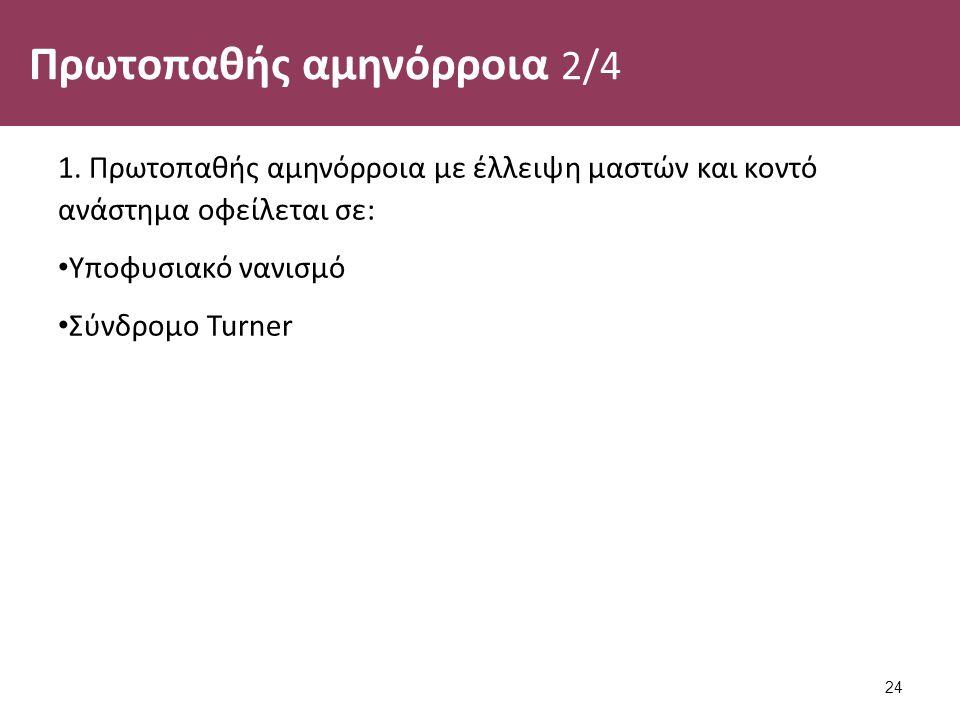 Πρωτοπαθής αμηνόρροια 2/4 1. Πρωτοπαθής αμηνόρροια με έλλειψη μαστών και κοντό ανάστημα οφείλεται σε: Υποφυσιακό νανισμό Σύνδρομο Turner 24