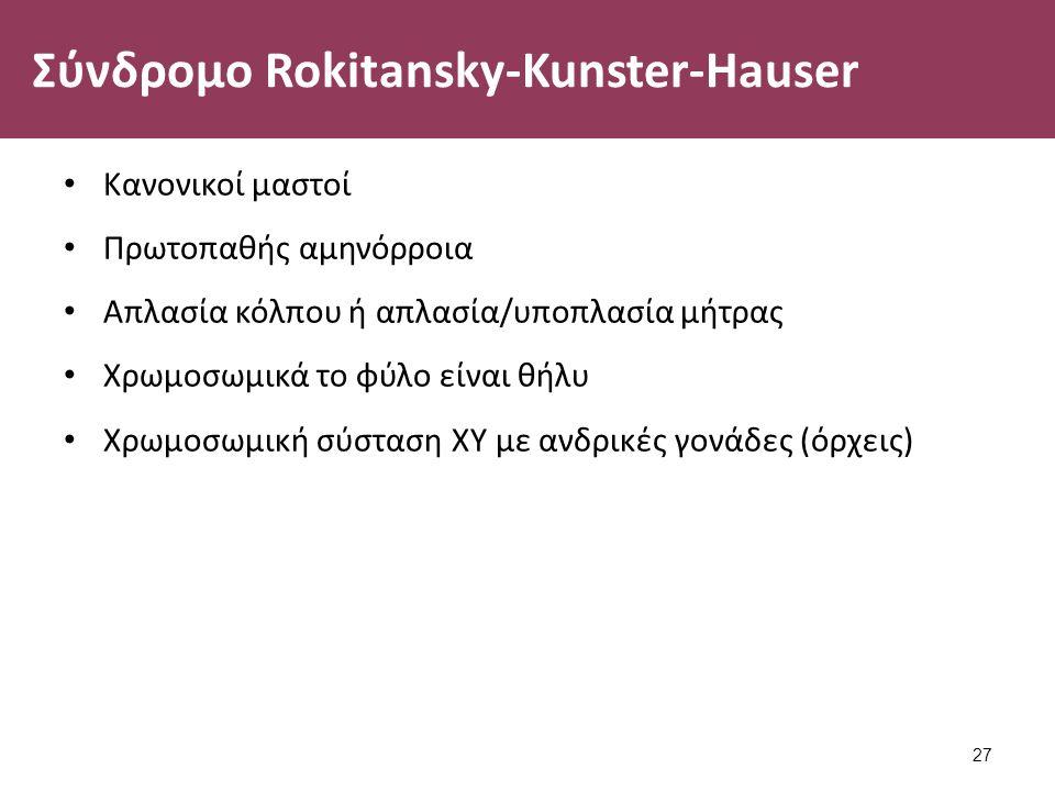 Σύνδρομο Rokitansky-Kunster-Hauser Κανονικοί μαστοί Πρωτοπαθής αμηνόρροια Απλασία κόλπου ή απλασία/υποπλασία μήτρας Χρωμοσωμικά το φύλο είναι θήλυ Χρωμοσωμική σύσταση ΧΥ με ανδρικές γονάδες (όρχεις) 27