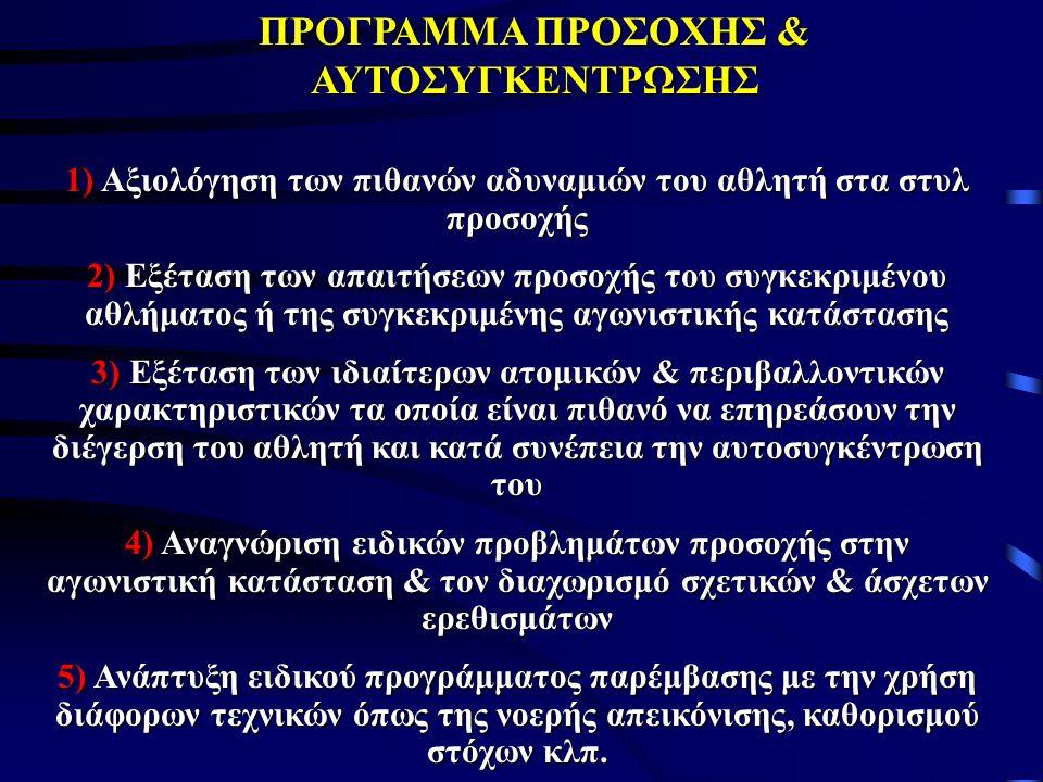 ΠΡΟΓΡΑΜΜΑ ΠΡΟΣΟΧΗΣ & ΑΥΤΟΣΥΓΚΕΝΤΡΩΣΗΣ 1) Αξιολόγηση των πιθανών αδυναμιών του αθλητή στα στυλ προσοχής 2) Εξέταση των απαιτήσεων προσοχής του συγκεκριμένου αθλήματος ή της συγκεκριμένης αγωνιστικής κατάστασης 3) Εξέταση των ιδιαίτερων ατομικών & περιβαλλοντικών χαρακτηριστικών τα οποία είναι πιθανό να επηρεάσουν την διέγερση του αθλητή και κατά συνέπεια την αυτοσυγκέντρωση του 4) Αναγνώριση ειδικών προβλημάτων προσοχής στην αγωνιστική κατάσταση & τον διαχωρισμό σχετικών & άσχετων ερεθισμάτων 5) Ανάπτυξη ειδικού προγράμματος παρέμβασης με την χρήση διάφορων τεχνικών όπως της νοερής απεικόνισης, καθορισμού στόχων κλπ.