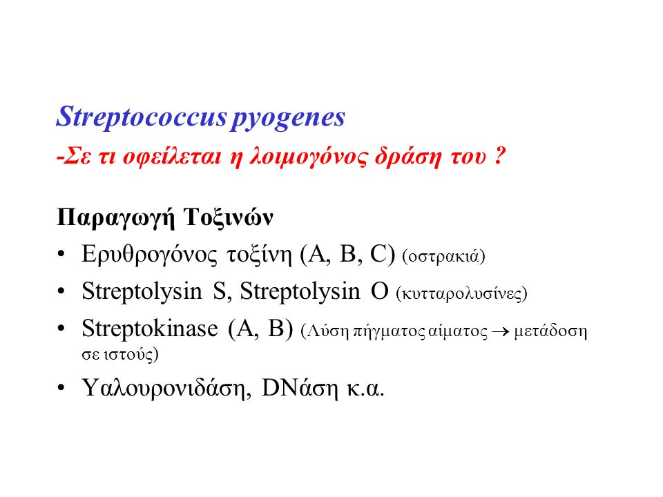 Streptococcus pyogenes -Σε τι οφείλεται η λοιμογόνος δράση του ? Παραγωγή Τοξινών Ερυθρογόνος τοξίνη (A, B, C) (οστρακιά) Streptolysin S, Streptolysin