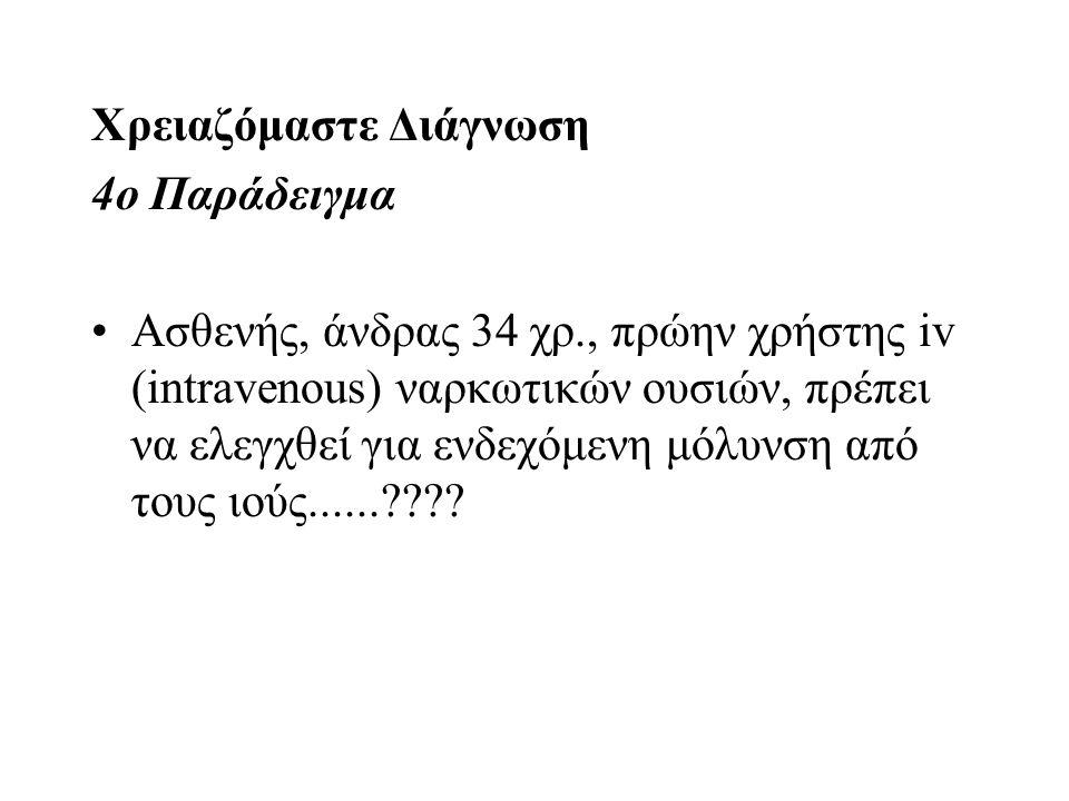 Χρειαζόμαστε Διάγνωση 4ο Παράδειγμα Ασθενής, άνδρας 34 χρ., πρώην χρήστης iv (intravenous) ναρκωτικών ουσιών, πρέπει να ελεγχθεί για ενδεχόμενη μόλυνσ